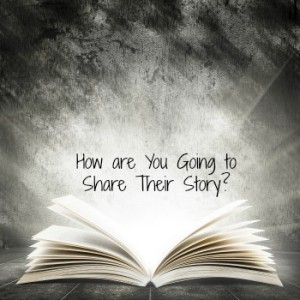 How are You Going to Share Their Story? Old open book with magic light on a dark abstract background