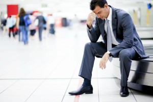 worried businessman lost his luggage at airport, prodigal