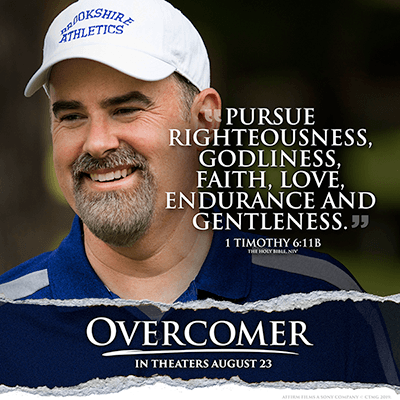 Overcomer scripture, Alex Kendrick blue golf shirt white has with scripture meme